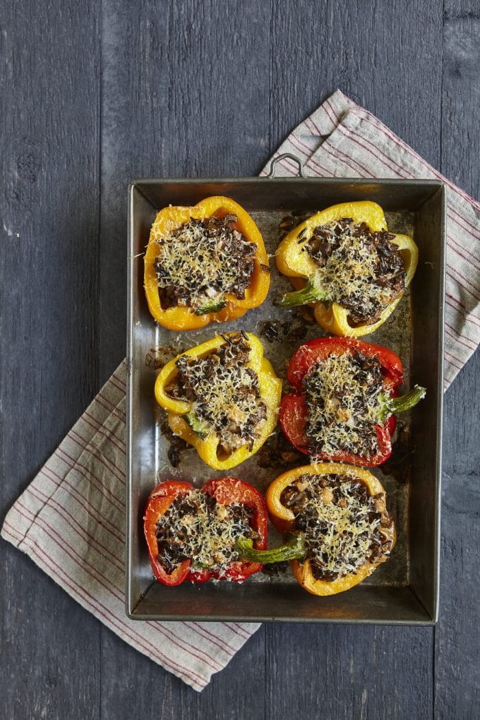Mushroom and Wild Rice Stuffed Peppers from Add a Pinch Cookbook