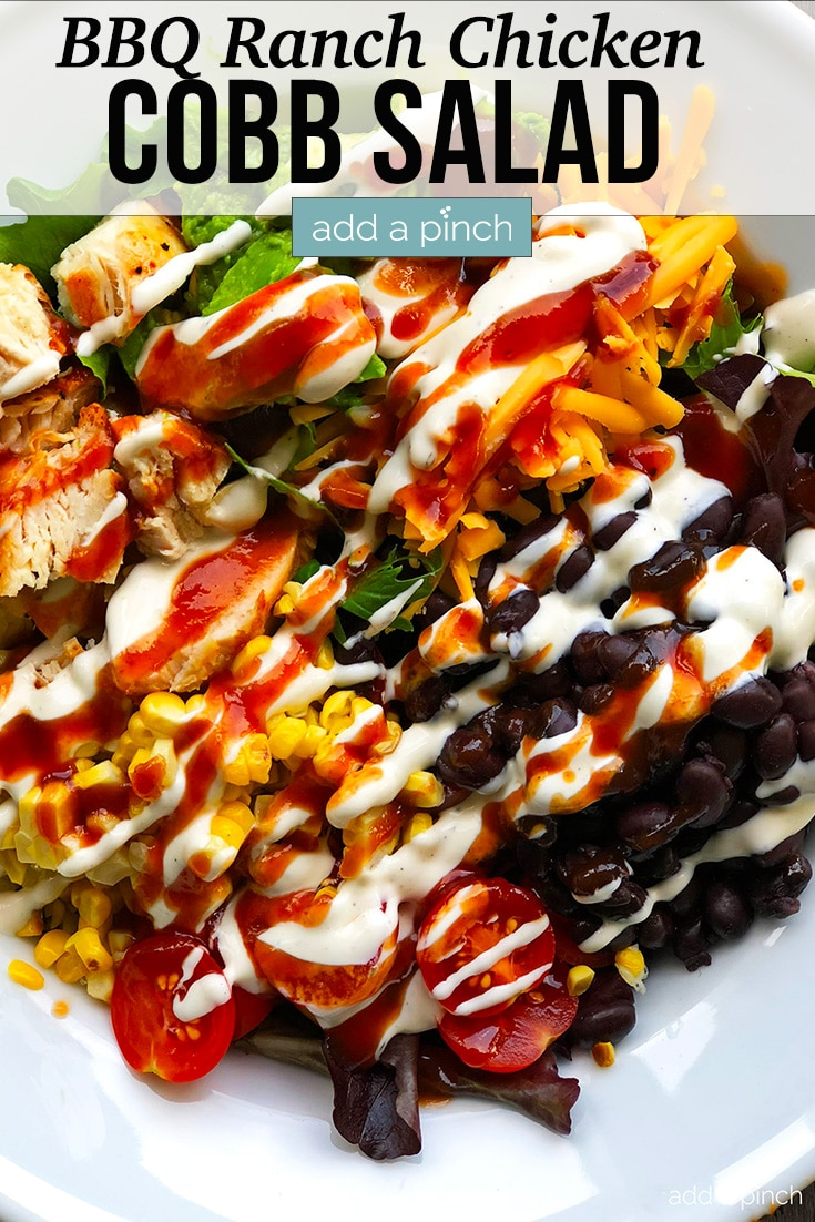 Bowl of BBQ Ranch Chicken Cobb Salad with text - addapinch.com