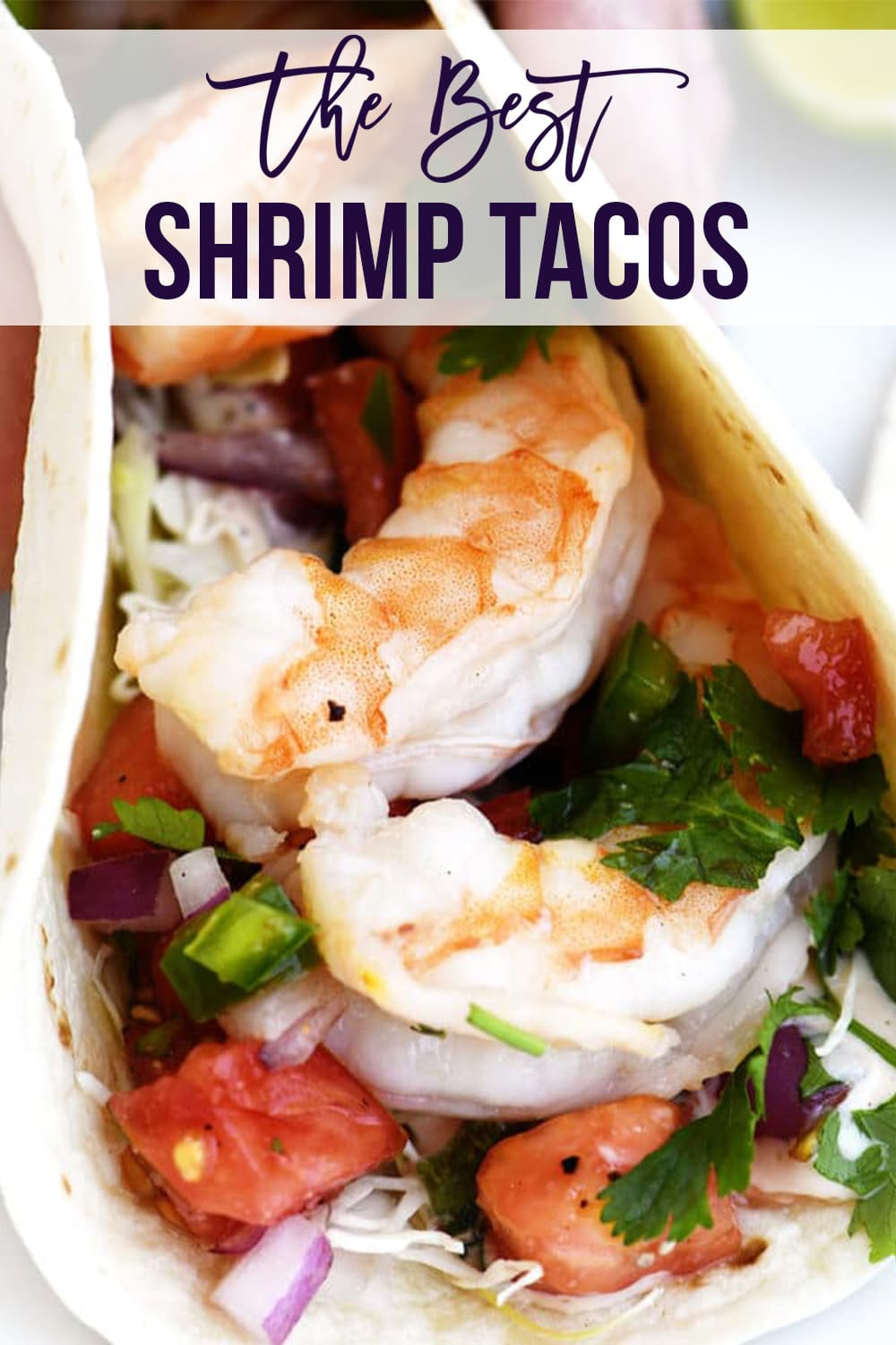Shrimp Tacos with fresh ingredients - with text - addapinch.com