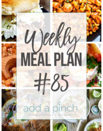 Weekly Meal Plan #85 - Sharing our Weekly Meal Plan with make-ahead tips, freezer instructions, and ways to make supper even easier! // addapinch.com