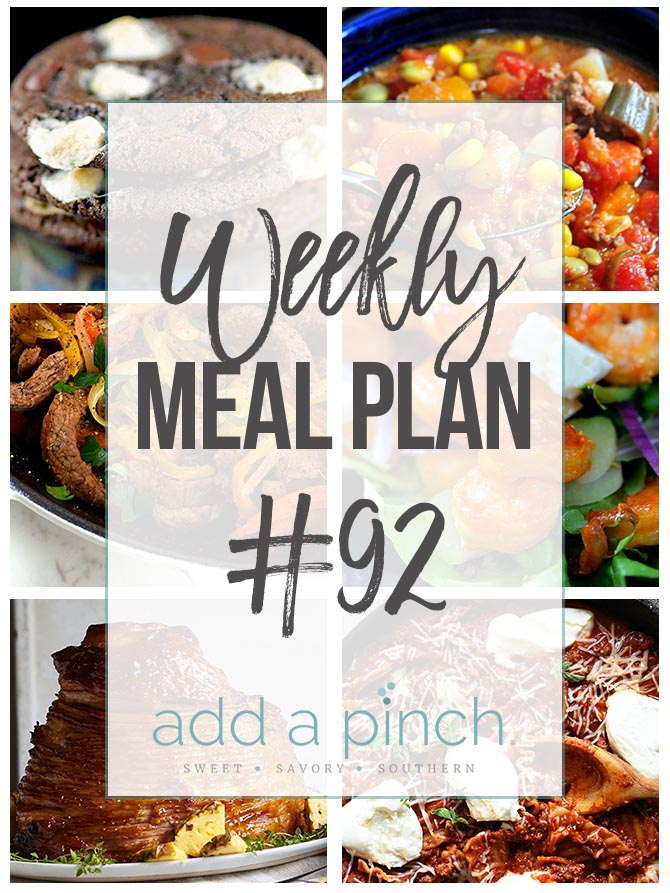 Weekly Meal Plan #92 - Sharing our Weekly Meal Plan with make-ahead tips, freezer instructions, and ways to make supper even easier! // addapinch.com