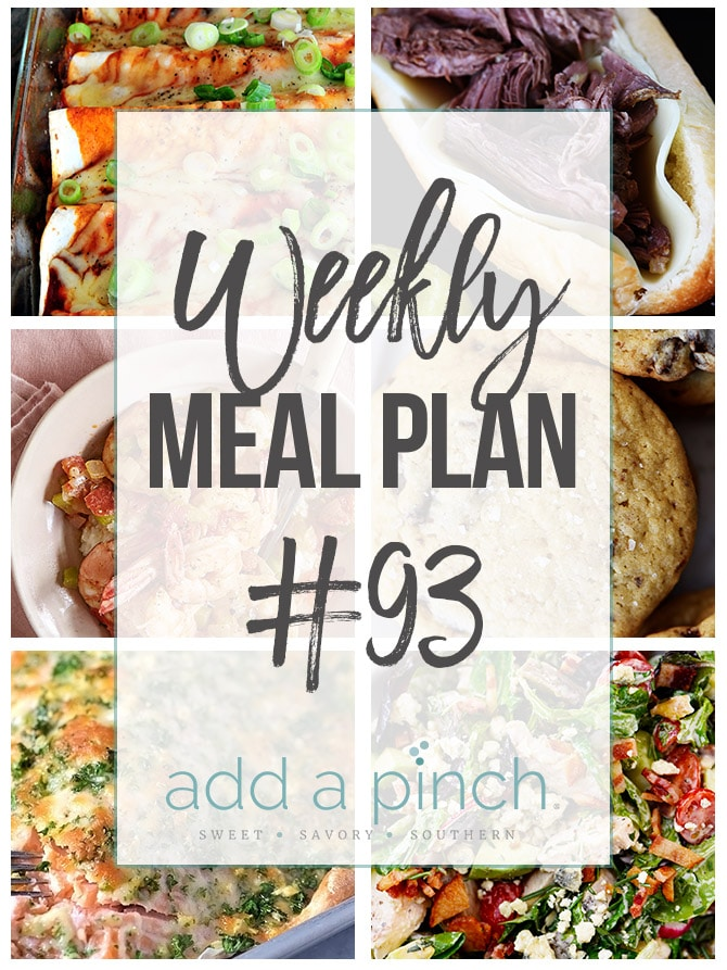 Weekly Meal Plan #93 - Sharing our Weekly Meal Plan with make-ahead tips, freezer instructions, and ways to make supper even easier! // addapinch.com