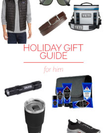 Holiday Gift Guide for Him – Our 2018 holiday gift guide includes the best gift ideas for the guy in your life! Filled with stylish sunglasses, snuggly shirts, requested tools and so much more!  // addapinch.com