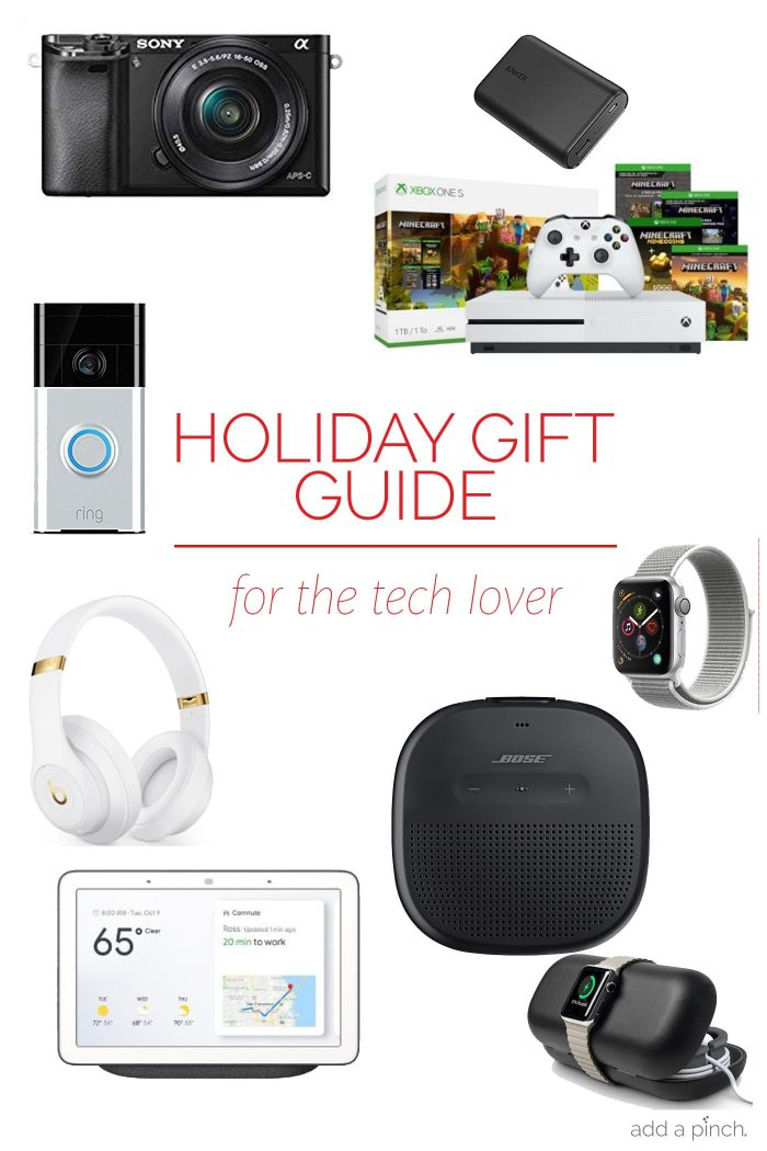 Holiday Gift Guide: for the Tech Lover– Our 2018 holiday gift guide includes the must-have gifts for the tech lover! Filled with cameras, headphones, gaming systems and so much more!// addapinch.com
