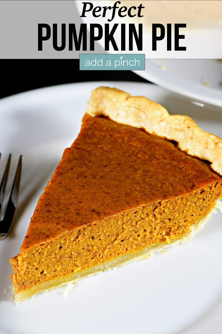 Pumpkin Pie slice on white plate - with text - addapinch.com