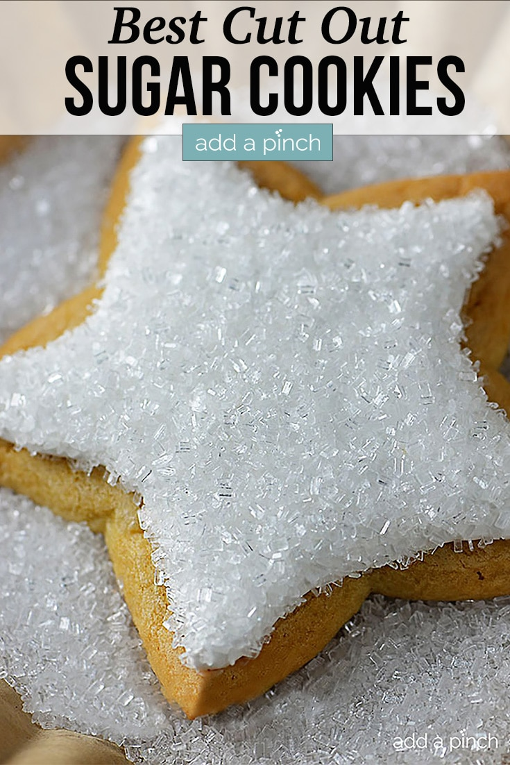 Star shaped Cut Out Sugar Cookies with Cookie Icing and sparkling sugar topping - with text - addapinch.com