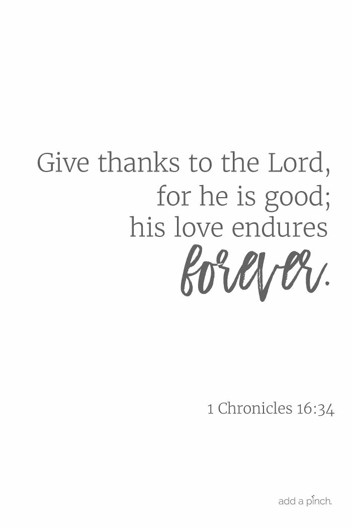Give thanks to the Lord, for he is good; his love endures forever. 1 Chronicles 16:34 // addapinch.com