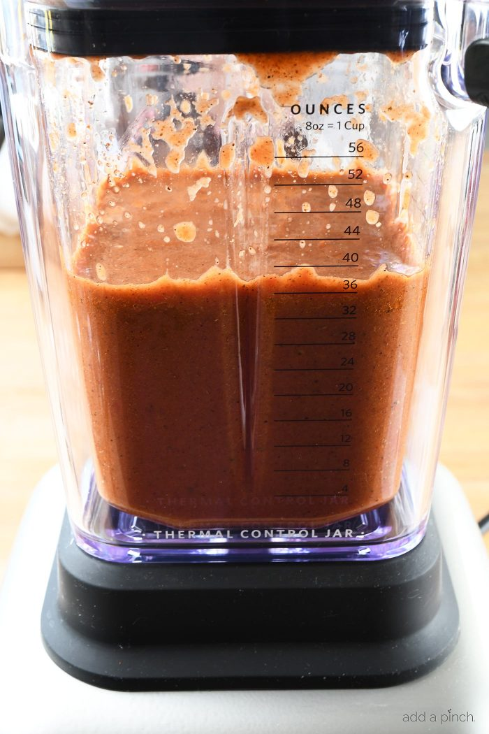 Easy Blender Enchilada Sauce Recipe - Ready in less than 5 minutes, this homemade enchilada sauce is gluten free and full of flavor! // addapinch.com