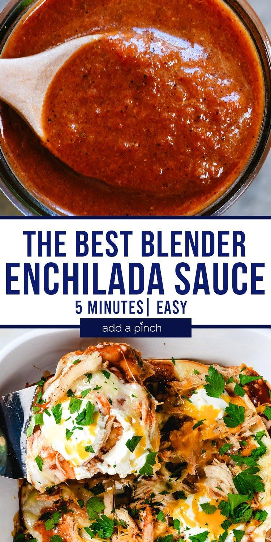 Photographs of enchilada sauce and enchilada casserole.