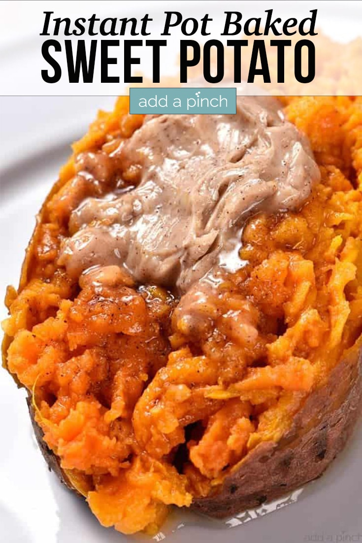 Cooked sweet potato topped with cinnamon honey butter - with text - addapinch.com