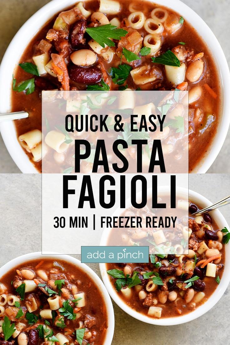 Photograph collage of pasta Fagioli