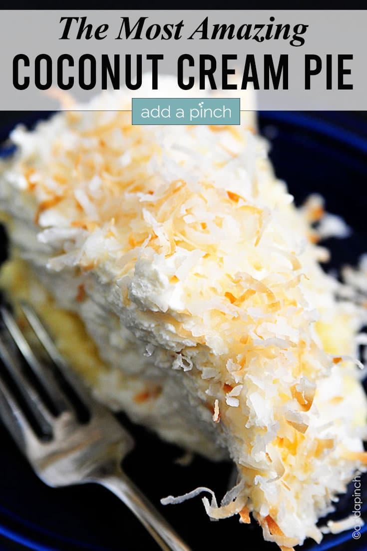 Coconut Cream Pie with fork and text - addapinch.com