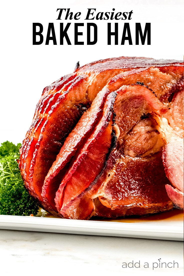 Cola Glazed Baked Ham photo with text - addapinch.com