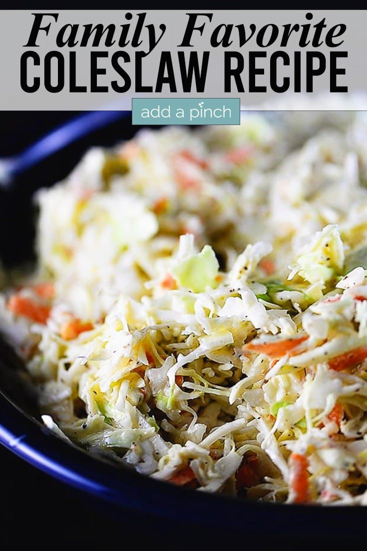 Coleslaw in blue bowl and text - addapinch.com