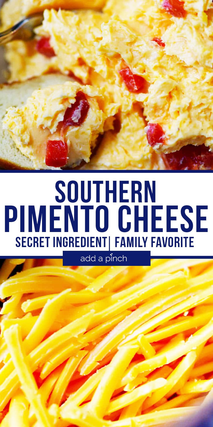 Southern Pimento Cheese scoop and shredded cheese - with text - addapinch.com