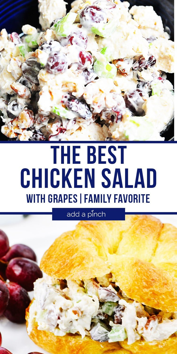 Chicken Salad with Grapes on plate and Chicken Salad Sandwich on croissant with grapes on plate - with text - addapinch.com