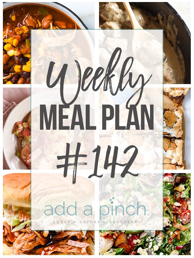 Weekly Meal Plan #142 - Sharing our Weekly Meal Plan with make-ahead tips, freezer instructions, and ways make supper even easier! // addapinch.com