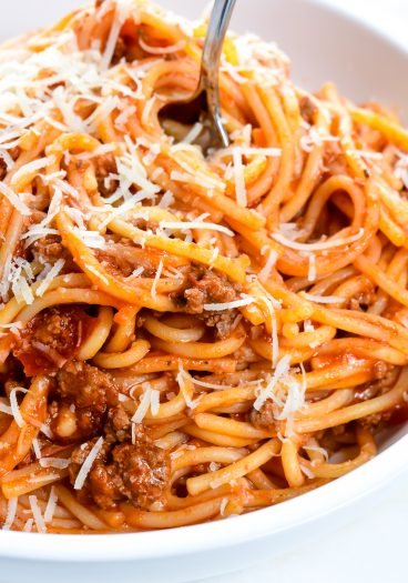 Instant Pot Spaghetti topped with parmesan cheese // addapinch.com