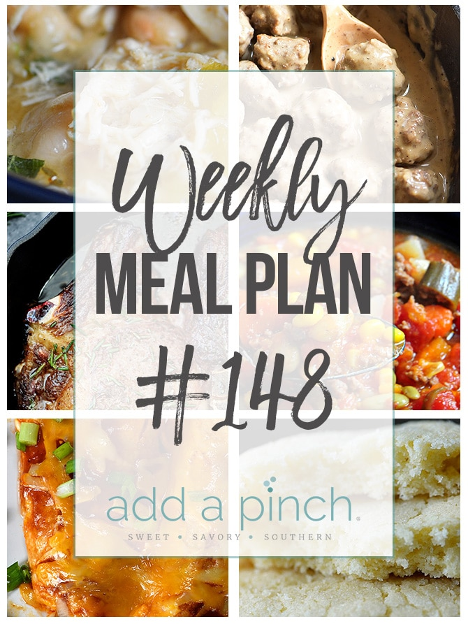 Weekly Meal Plan #148 - Sharing our Weekly Meal Plan with make-ahead tips, freezer instructions, and ways to make supper even easier! // addapinch.com