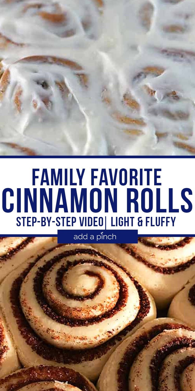 Collage of cinnamon rolls with and without icing - with text - addapinch.com