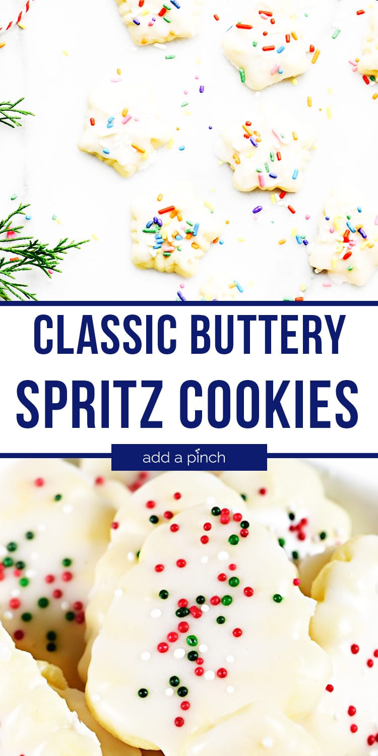 Photo collage of glazed Spritz Cookies - with text - addapinch.com