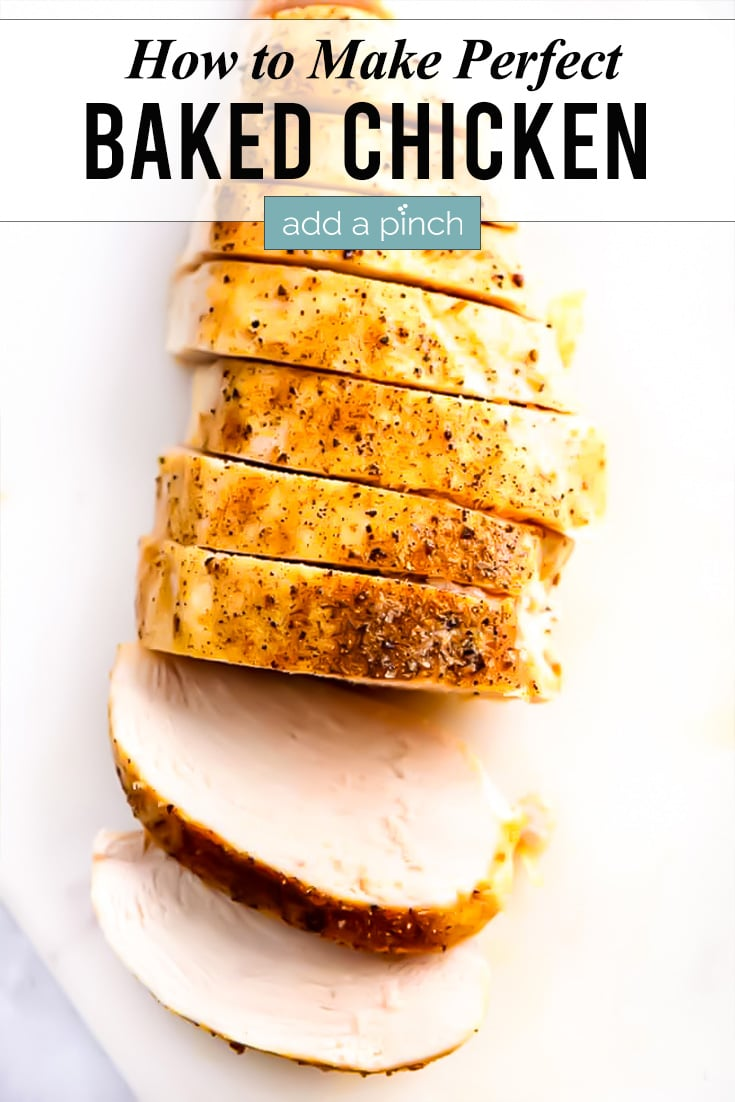 Baked Chicken Breast picture with text - addapinch.com