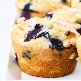 Blueberry Muffins on white platter