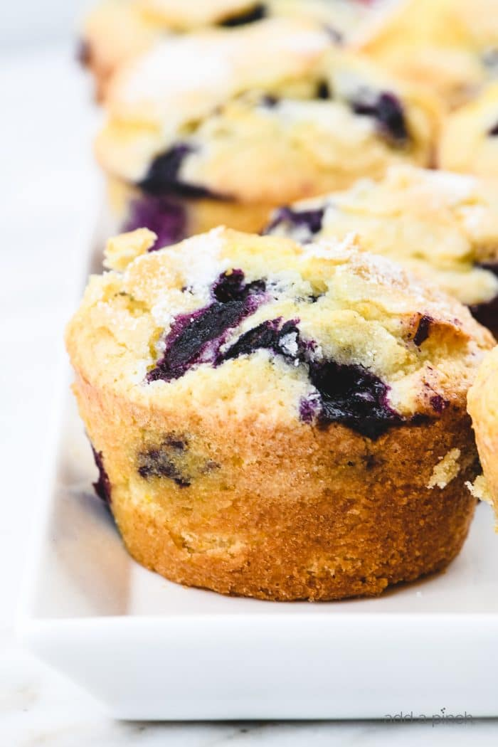 Blueberry Muffins on white platter