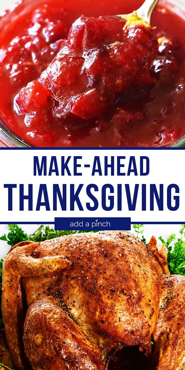 Photo collage of Cranberry Sauce and Roast Turkey - with text - addapinch.com