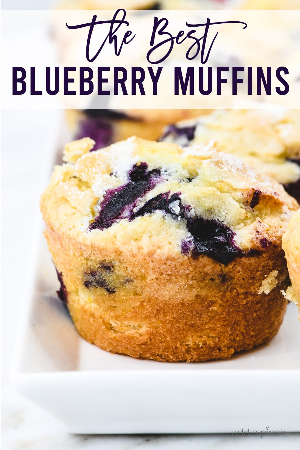 Blueberry muffins on white serving platter - with text - addapinch.com
