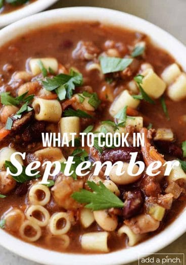"""photograph of bowl of soup with text overlay """"what to cook in September"""""""