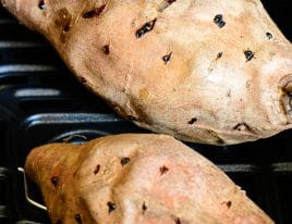 Photograph of baked sweet potatoes.