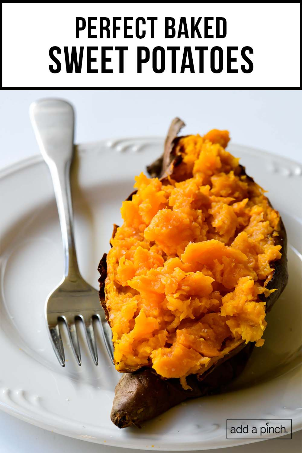 Photograph of baked sweet potato on a white plate with the text perfect baked sweet potatoes overlay.