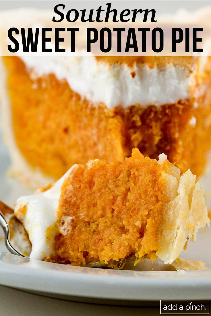Slice of Southern Sweet Potato Pie with browned marshmallow topping - with text - from addapinch.com