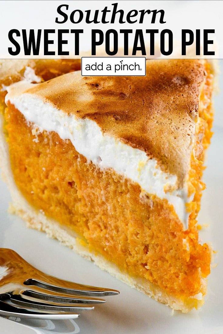 Slice of sweet potato pie with browned marshmallow topping - with text - addapinch.com